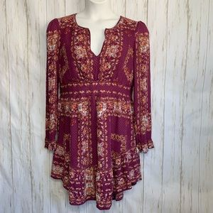 Free People Dress Long Sleeve Floral Boho Hippie